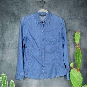 Lafayette 148 Button Front Chambray Blouse    C207